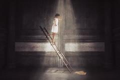 Ladder (Charles Jayson Tajonera Bio) Tags: ladder conceptual dark light shadow shining levitate art fineart people human asian japanese fujifilm life photography photoshop