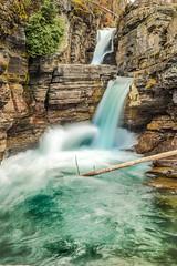 St. Mary Falls (Lisa Bell Jamison) Tags: stmaryfalls glaciernationalpark montana waterfall water nature green aqua cliff stream