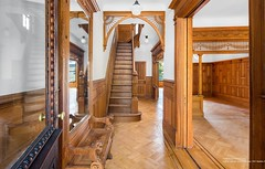 Brooklyn Rutland Road brownstone foyer Victorian woodwork (techpro12) Tags: newyork prospectleffertsgardens brownstone building old historic room interior victorian woodwork ornate livingroom baywindows stairs stairway banister foyer partition wainscoting