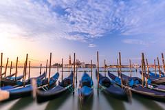 venicemorning3- (David Xian) Tags: gondola boat water sunrise sky gold warm travel venice italy venetian italian boats clouds nikon tokina 1120 d7100