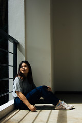 BSS_7737-2 (BSuthinan) Tags: chiangmaiuniversity chiangmai facultyofeconomics people girl portrait selfportrait shadow light sunlight bright psychology psychoanalytictheory consciousmind sigmundfreud truth consciousness single alone lonely tshirt jeans shoes emotions feeling sensation sensibility thought concept mind determination reflex aspect sit still quiet silent shorthair brownhair whiteskin thailand whitewall lighting shine clear blazing quiescent peaceful teenager plump corner indoor positive identity