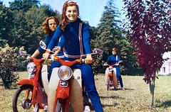 Unknown French pop group  on Honda C100s. (Lawrence Peregrine-Trousers) Tags: honda super cub c100 50 1960s motorcycle motorbike bike ffffffffff france french pop group girl