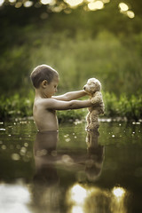Dancing on the Water (Phillip Haumesser Photography) Tags: boy kid child teddy bear play water dance dancing light philliphaumesser