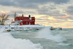 """February Girl"" Point Betsie Lighthouse (Michigan Nut) Tags: winter sky snow ice sunrise landscape nikon midwest waves michigan scenic landmark lakemichigan johnmccormick pointbetsielighthouse michigannutphotography d800e"