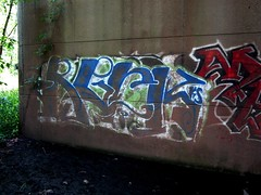 Graffiti on Highway Bridge (markchevy) Tags: bridge landscape graffiti photo newjersey interesting highway colorful graphic nj picture scene vista elevated a3300 canonpowershota3300