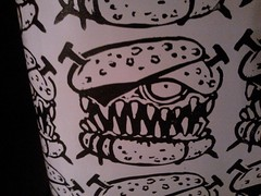 SPAM collab (andres musta) Tags: art print sticker stickerart zombie spam burger stickers hamburger collab block squad linoleum andres musta