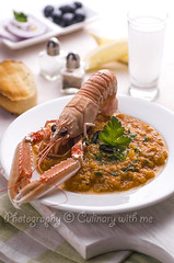 Greek style langoustine (vanilllaph) Tags: food closeup tomato bread recipe table pepper greek cookbook colorful dish drink sauce eating salt cook olive style tasty plate celebration delicious eat shellfish ouzo celebrating langust langusta