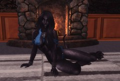 Ni'ic the Feline (A Moonbiter) Tags: woman female cat pose fur fireplace feline sensual sl secondlife paws cleavage claws bastet