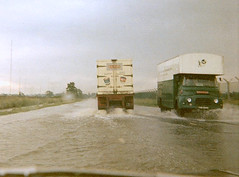 Flash Flood On The A5 at Daventry, August 1968 (colinfpickett) Tags: water car rain truck shower flood working pouring classictruck morrs famoustruck