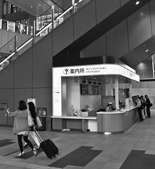 ? (Aaron Webb) Tags: bw japan trainstation   osaka informationdesk information umeda  osakastation