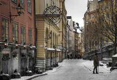 "Old Town ""Stockholm"" (Robban.G) Tags: street old city winter red sky orange white house snow cold nikon sweden stockholm oldtown d800 streetshot femsmhus rememberthatmomentlevel1 rememberthatmomentlevel2 rememberthatmomentlevel3 creativephotocafe"