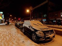 Winter's Night (NickyJameson) Tags: street longexposure nightphotography snow toronto ice night mercedes nightshot streetlamp snowdrift midtown danforth nightlight snowing nightsky nightscene streetscape icicles snowscape nikoncoolpixl810 nickyjameson