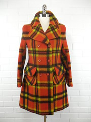 "1960s Bold Orange Checked Wool Coat • <a style=""font-size:0.8em;"" href=""http://www.flickr.com/photos/92035948@N03/8548597855/"" target=""_blank"">View on Flickr</a>"