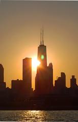 touched sunset (mark-marshall) Tags: light sunset chicago lakemichigan lensflare johnhancock d40 f456 quantaray70300mm