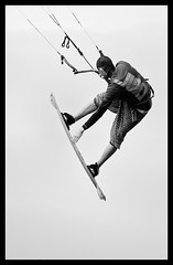 The flying kite surfer (Frank Fullard) Tags: ireland bw irish kite sport mono fly flying action surfer mayo achill kitesurfer competitor fullard frankfullard