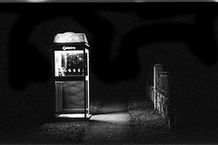 Waiting for the call (sinisa ostojic) Tags: leica light film night analog photography 50mm nightshot australia brisbane d76 summicron telstra 400 m6 phonebox newfarm pushprocess arista stphotographia sinisaostojic