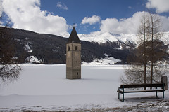 the church in the lake (juliaschilling) Tags: lake see kirche sdtirol altoadige southtyrol kirchturm reschensee reschenpass vinschgau reschen