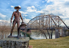 A Little History of the West (SimplyAmy74) Tags: bridge west heritage history statue clouds river cowboy montana fort bluesky historic springbreak missouri wildwest benton