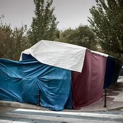 Covered (Julio Lpez Saguar) Tags: madrid espaa spain under wrapped covered inside behind dentro alcorcn detrs debajo cubierto tapado juliolpezsaguar