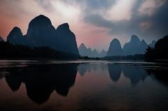 Xingping (Tannachy) Tags: china sunset mountains reflection water river landscape li asia guilin yangshuo scenic note limestone 20 karst yuan guangxi lijang xingping