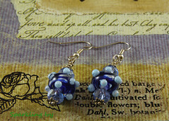Blue With Dots (SparklingIvy) Tags: silver handmade jewelry swarovski earrings lampwork handmadejewelry swarovskicrystals lampworkbeads