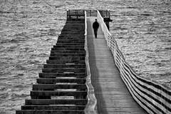 Dock Walk (alexhlckey) Tags: people bw white man black guy alex monochrome docks canon walking person rebel pier washington dock nw northwest north arts wharf sound chop wa nola washingtonstate andorra puget hickey nk kitsap indianola choppy t4i fishingdock 98342