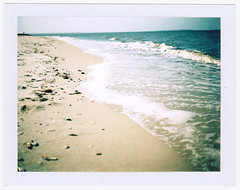 Summer (csteinmetz1) Tags: ocean summer shells color beach analog vintage polaroid warm waves fuji border fujifilm analogphotography 340 landcamera vinta peelapart polaroid340 fp100c fujifp100c