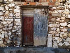 (Crausby) Tags: door wood blue red art portugal metal mediumformat photography wooden artwork closed paint fineart hasselblad textures doorway portal algarve corrugated corrugatediron turen mittelformat parchal h3d