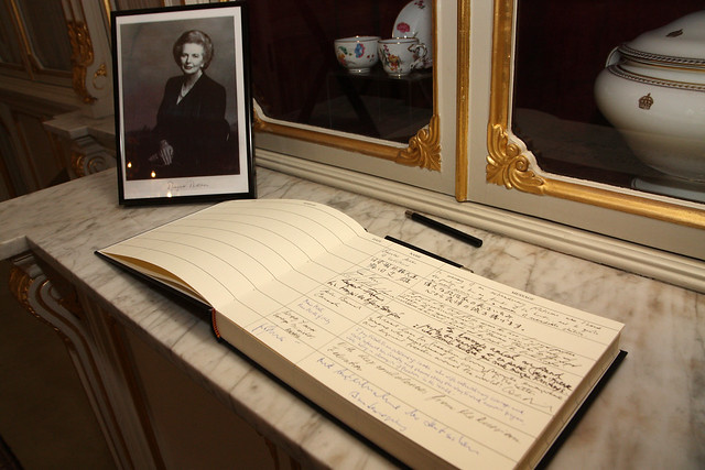 Condolence book for former Prime Minister, Lady Thatcher