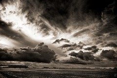 Eastern Friesland Sky (Explored) (chmeermann) Tags: sky bw sepia clouds germany landscape deutschland blackwhite nikon himmel ostfriesland sw nikkor schwarzweiss lowkey landschaft 18135 d80 easternfriesland wolkgen