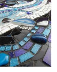 "Looking across ""Small Sea Surge"" (bryanilona) Tags: mirror panel mosaic stainedglass howlite haematite blueagate glasstessarae slicedagate smallseasurge glassnuggests"