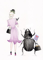 Deadly Nightshade (Andrea Kett) Tags: fashion lady stag beetle nightshade 1940s bingo deadly bingocard andreakett andreakettillustration