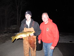 Brian (l) and Jim Wallis with $1,000 carp (Dan Small Outdoors) Tags: carp jimwallis tomday brianwallis bowfishing roughfish eaglespringlake dansmall outdoorsradio carpremoval