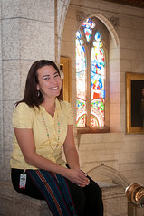 AANDC employee Katelin Peltier in front of the stained glass window. (Aboriginal Affairs and Northern Development Canada) Tags: canada window photo artwork culture parliament stainedglass sash firstnations apology inuit reconciliation houseofcommons mtis centreblock aboriginalpeoples indianresidentialschools aandc aboriginalaffairsandnortherndevelopmentcanada katelinpeltier