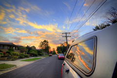 Colourful sunset (Indigo Skies Photography) Tags: road lighting street camera houses light sunset sky colour reflection ford grass car clouds digital lens photography photo aperture exposure flickr image pavement australia victoria iso powerlines driveway wires vehicle colourful capture footpath bitumen glenwaverley powerpoles fordranger tokina1116mmf28 glencourt nikond7000 naturestrips raychristy dualcabute