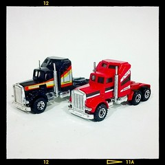 A Couple 'o Kenworths. (DJ Witty) Tags: truck toy semi matchbox kenworth diecast lesney aerodyne kenworths flickrandroidapp:filter=none