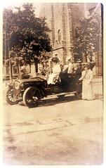 Big Brass Era Touring Car - Circa 1910 (ilgunmkr - Thanks for 4,000,000+ Views) Tags: rppc realphotopostcard circa1910 vintageauto touringcar brasseracar righthanddrive acetylenelights kerosenelights