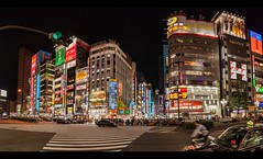 Night life in Shinjuku Tokyo (Zygios) Tags: tokyo japan asia travel outdoor crowd architecture buildings street lights urban people buildingcomplex panorama longexposure hdr hugin hdrpanorama photomatix crossroad nikonflickraward city shop night skyline