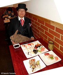 Dr. Takeshi Yamada and Seara (Coney Island Sea Rabbit) at the Sake Japanese sushi buffet restaurant in Brooklyn, NY on March 30, 2016.  20160330 Wed. 1 DSCN4852=rp-2010c2. Sake Japanese buffet restaurant, assorted sushi and sashimi. (searabbits23) Tags: searabbit seara takeshiyamada  taxidermy roguetaxidermy mart strange cryptozoology uma ufo esp curiosities oddities globalwarming climategate dragon mermaid unicorn art artist alchemy entertainer performer famous sexy playboy bikini fashion vogue goth gothic vampire steampunk barrackobama billclinton billgates sideshow freakshow star king pop god angel celebrity genius amc immortalized tv immortalizer japanese asian mardigras tophat google yahoo bing aol cnn coneyisland brooklyn newyork leonardodavinci damienhirst jeffkoons takashimurakami vangogh pablopicasso salvadordali waltdisney donaldtrump hillaryclinton polarbearclub