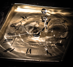 time warp (darren j haslam) Tags: water clock droplet splash art time sureal lighting clockface drop surreal canon flash gold