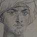 CHASSERIAU Théodore,1846 - Arabe coiffé d'un Turban, debout contre un Arbre (drawing, dessin, disegno-Louvre RF24352) - Detail 26
