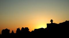 Silhouette of the village (M.patrik) Tags: sunset summer village coast buildings silhouette trees clear sky gradient