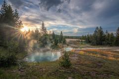 Bursting Below (JeffMoreau) Tags: yellowstone national park geyser west thumb basin hot springs sunset sunburst burst landscape wyoming findyourpark