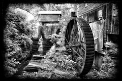 New Hope Mills, New Hope NY (J and A's Photography) Tags: usa black beautiful bridge state white water monochrome mill redmatrix nysland