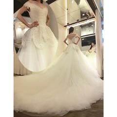 Elegant Chapel Train Off-the-Shoulder White Lace Wedding Dress (vickischumacher) Tags: weddingdress2016 dress dresses fashion wedding weddingdress whitelaceweddingdress lace lacedress longweddingdress