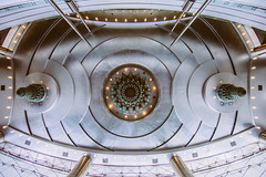 The Eye of the Twins (ole) Tags: ceiling kuala kualalumpur lumpur malaysia asia petronas twins hall symmetry kl architecture ripple details geometry wide wideangle