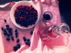 Pink Still life with aperitif (tnocapital) Tags: cowberry blueberry stilllife berry bottle glass aperitif pink briar