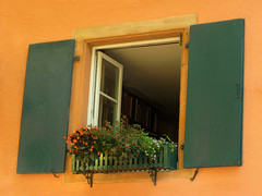 Open Window (Batikart) Tags: city travel flowers light summer vacation urban orange sunlight house black building green window colors yellow wall canon reflections germany geotagged outdoors deutschland holidays europa europe colours open vibrant sommer fenster patterns wand details urlaub citylife blumen books textures stadt shutters colored ursula coloured gebude windowbox mauer sander g11 badenwrttemberg titisee blumenkasten 100faves 2013 batikart canonpowershotg11 exteriorwallofahouse
