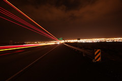 Exit 153 outside Albuquerque (CaptDanger) Tags: city light newmexico lights lowlight low trails albuquerque citylights abq brakelights interstate40