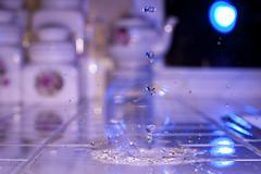 "39/365 ""Glass Leak Retry"" (K3Z Photos) Tags: longexposure blue kitchen night canon lens eos 50mm waterdrop long counter action flash teapot splash dslr magiclantern exp finegold 50d splittoning gorillapod flickraward"